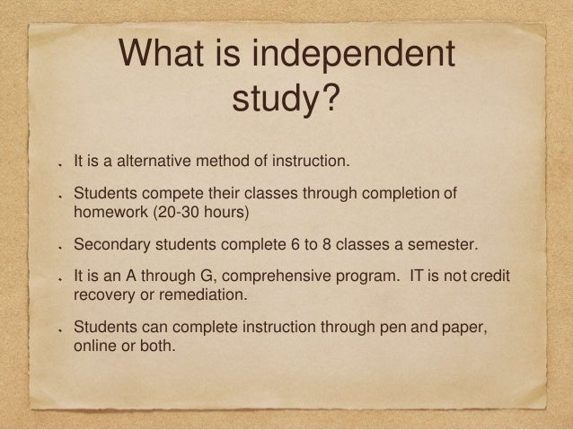 Independent Study - Educational Options (CA Dept of Education)