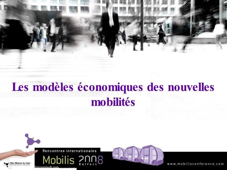 Les modèles économiques des nouvelles mobilités