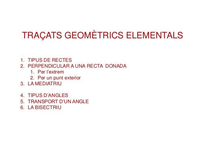 TRAÇATS GEOMÈTRICS ELEMENTALS 1. TIPUS DE RECTES 2. PERPENDICULAR A UNA RECTA DONADA 1. Per l'extrem 2. Per un punt exteri...