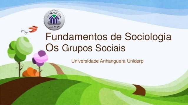 Fundamentos de Sociologia Os Grupos Sociais Universidade Anhanguera Uniderp