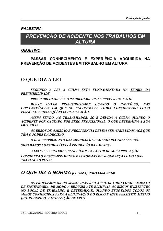 Prevenção de quedasPALESTRA  PREVENÇÃO DE ACIDENTE NOS TRABALHOS EM                  ALTURAOBJETIVO:    PASSAR CONHECIMENT...