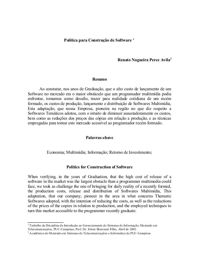 Política para Construção de Software 1                                                                 Renato Nogueira Per...