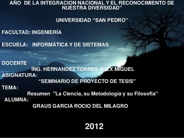 """AÑO DE LA INTEGRACION NACIONAL Y EL RECONOCIMIENTO DE                   NUESTRA DIVERSIDAD""""                    UNIVERSIDAD..."""
