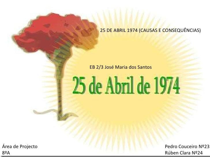 100 ANOS DA IMPLANTAÇÃO DA REPÚBLICA EM PORTUGAL<br />25 DE ABRIL 1974 (CAUSAS E CONSEQUÊNCIAS)<br />EB 2/3 José Maria dos...