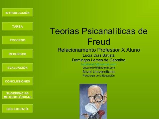 INTRODUCCIÓN TAREA PROCESO RECURSOS EVALUACIÓN CONCLUSIONES BIBLIOGRAFÍA SUGERENCIAS METODOLÓGICAS Teorias Psicanalíticas ...