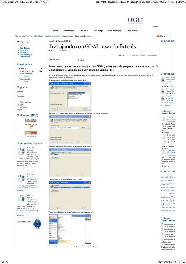 Trabajando con GDAL, usando fwtools                                                                                 http:/...