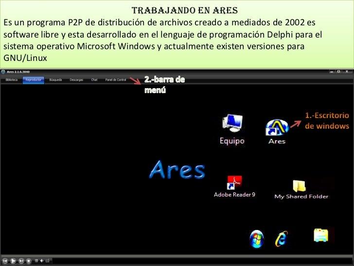 Trabajando en aresEs un programa P2P de distribución de archivos creado a mediados de 2002 essoftware libre y esta desarro...