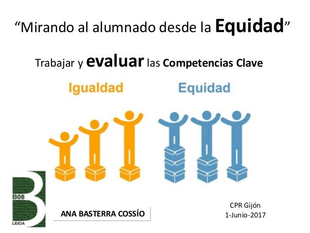 """""""Mirando al alumnado desde la Equidad"""" ANA BASTERRA COSSÍO Trabajar y evaluarlas Competencias Clave CPR Gijón 1-Junio-2017"""