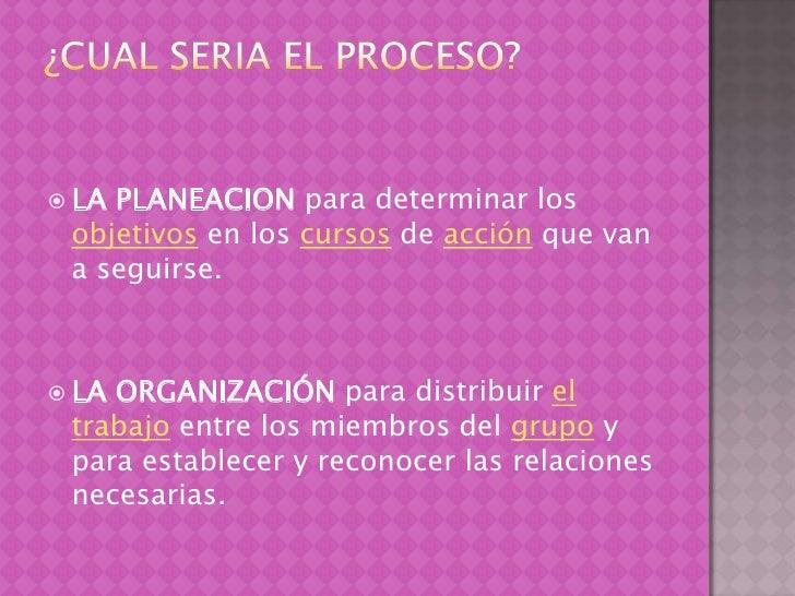 ¿Cual seria el proceso?<br />LA PLANEACION para determinar los objetivos en los cursos de acción que van a seguirse. <br /...