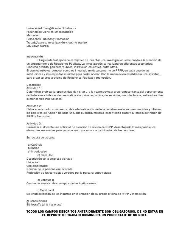 Universidad Evangélica de El Salvador Facultad de Ciencias Empresariales Mercadeo Relaciones Públicas y Promoción Trabajo/...