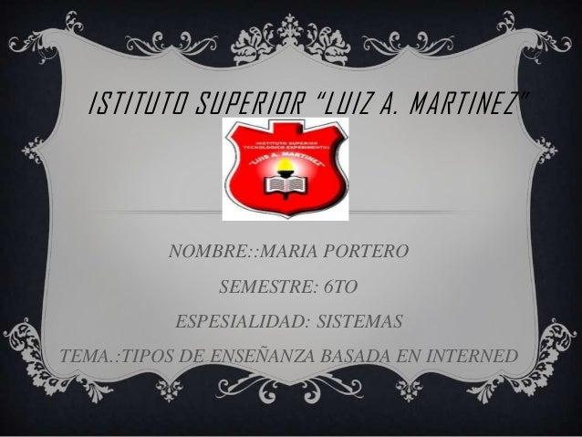 """ISTITUTO SUPERIOR """"LUIZ A. MARTINEZ""""NOMBRE::MARIA PORTEROSEMESTRE: 6TOESPESIALIDAD: SISTEMASTEMA.:TIPOS DE ENSEÑANZA BASAD..."""
