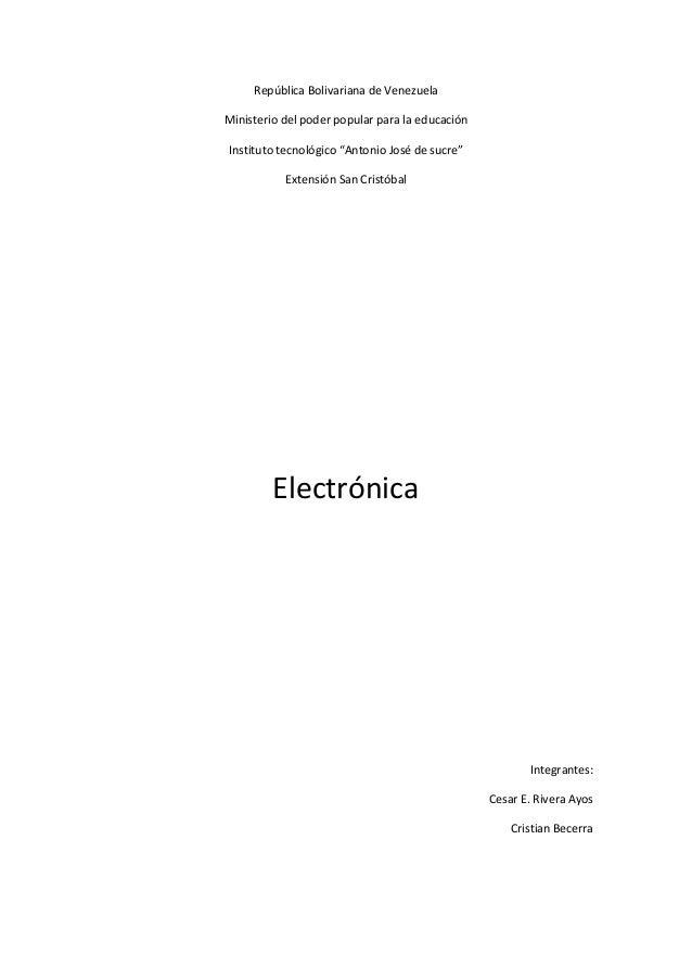 """República Bolivariana de VenezuelaMinisterio del poder popular para la educaciónInstituto tecnológico """"Antonio José de suc..."""