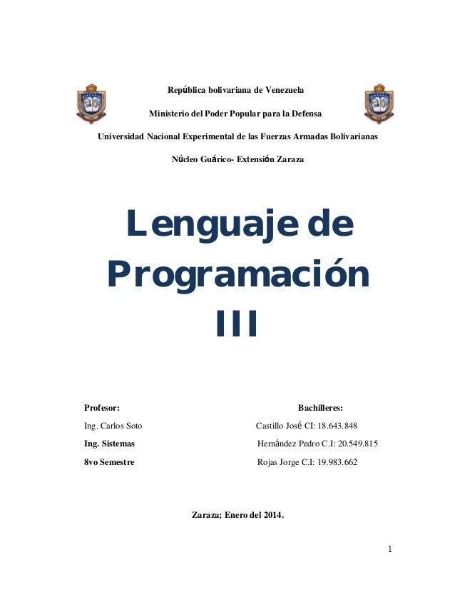 República bolivariana de Venezuela Ministerio del Poder Popular para la Defensa Universidad Nacional Experimental de las F...