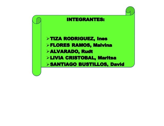 INTEGRANTES: TIZA RODRIGUEZ, Ines FLORES RAMOS, Malvina ALVARADO, Rudt LIVIA CRISTOBAL, Maritsa SANTIAGO BUSTILLOS, D...