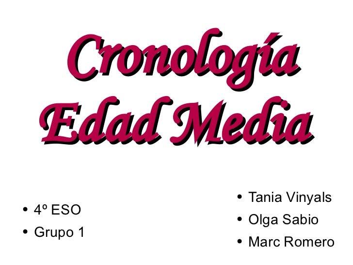 Cronología Edad Media  <ul><li>Tania Vinyals  </li></ul><ul><li>Olga Sabio  </li></ul><ul><li>Marc Romero </li></ul><ul><l...