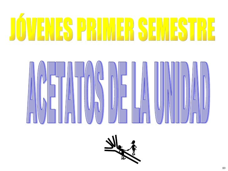 JÓVENES PRIMER SEMESTRE ACETATOS DE LA UNIDAD 89