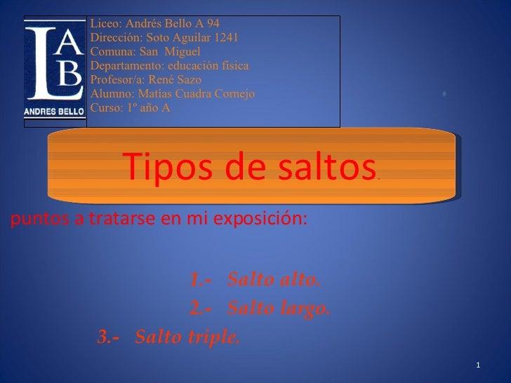 puntos a tratarse en mi exposición: 1.-  Salto alto. 2.-  Salto largo. 3.-  Salto triple.  Tipos de saltos . 2008 Liceo: A...
