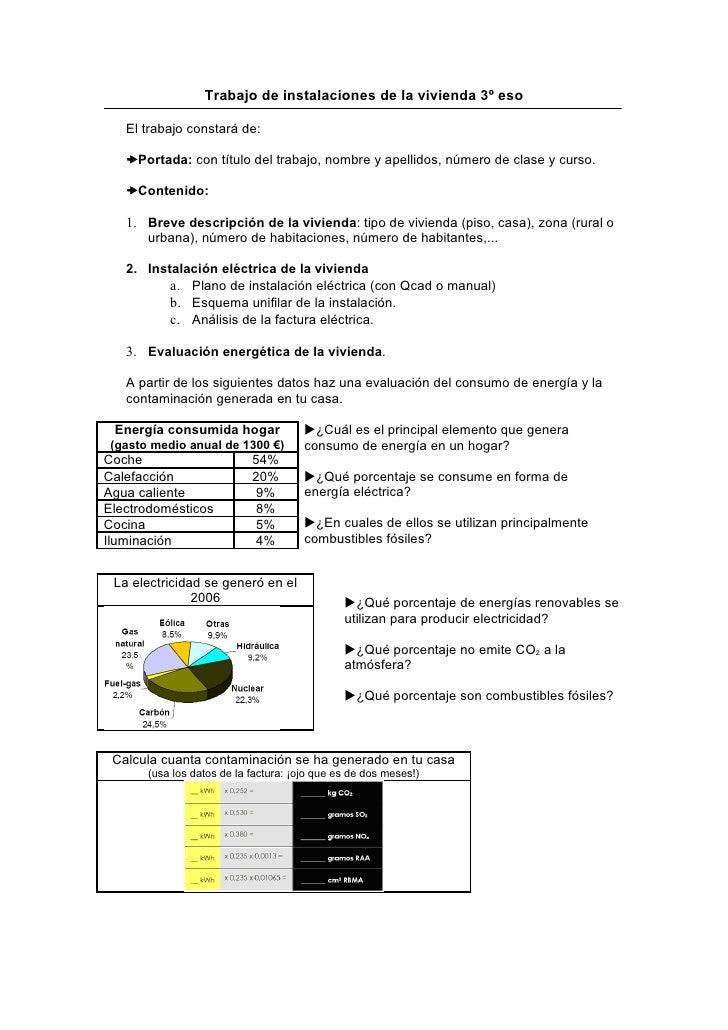 Trabajo de instalaciones de la vivienda 3º eso     El trabajo constará de:     Portada: con título del trabajo, nombre y ...