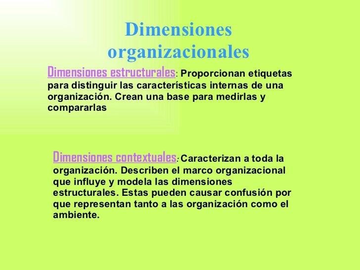 Dimensiones estructurales :  Proporcionan etiquetas para distinguir las características internas de una organización. Crea...