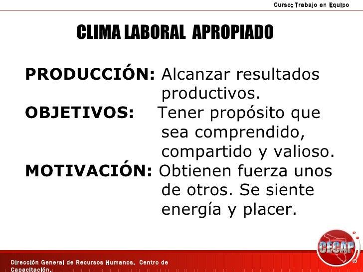 CLIMA LABORAL  APROPIADO PRODUCCIÓN:  Alcanzar resultados productivos. OBJETIVOS:   Tener propósito que  sea comprendido, ...