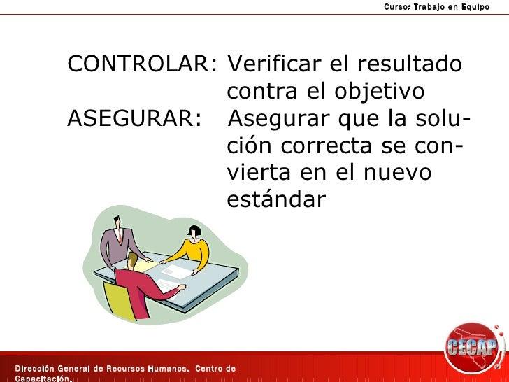 CONTROLAR: Verificar el resultado contra el objetivo ASEGURAR:  Asegurar que la solu- ción correcta se con- vierta en el n...
