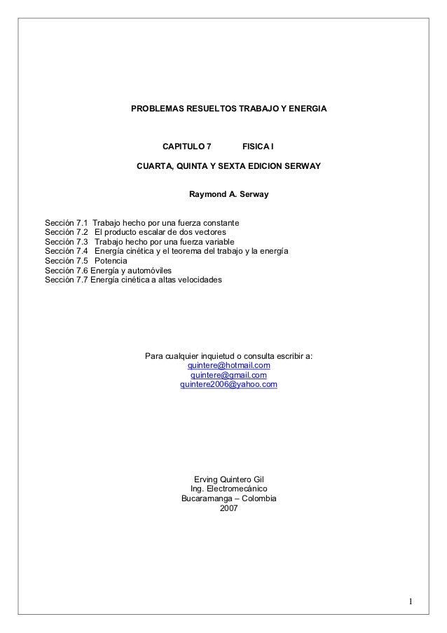 PROBLEMAS RESUELTOS TRABAJO Y ENERGIA                               CAPITULO 7             FISICA I                       ...