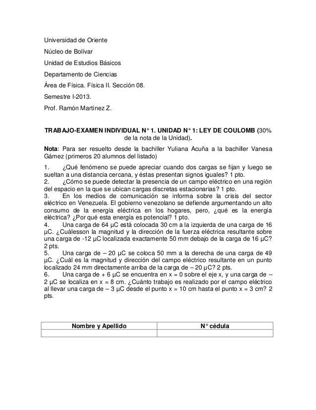 Universidad de OrienteNúcleo de BolívarUnidad de Estudios BásicosDepartamento de CienciasÁrea de Física. Física II. Secció...
