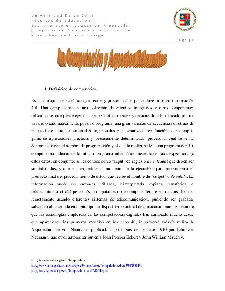 Universidad De La SalleFacultad de EducaciónBachillerato en Educación PreescolarComputación Aplicada a la EducaciónSusan A...