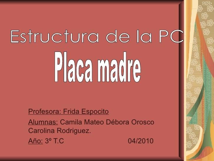 Profesora: Frida EspocitoAlumnas: Camila Mateo Débora OroscoCarolina Rodriguez.Año: 3º T.C                 04/2010