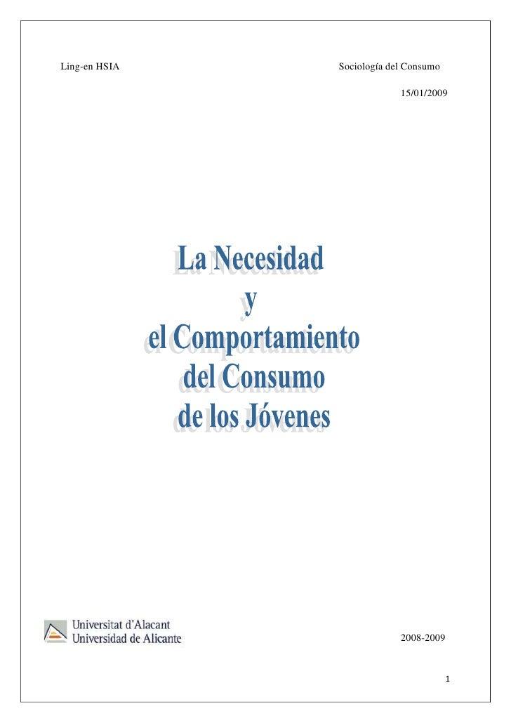 Ling-en HSIA   Sociología del Consumo                              15/01/2009                                 2008-2009   ...