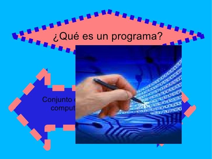 ¿Qué es un programa? Conjunto de instrucciones para una  computadora puede interpretar y ejecutar