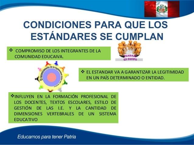 CONDICIONES PARA QUE LOS ESTÁNDARES SE CUMPLAN  COMPROMISO DE LOS INTEGRANTES DE LA COMUNIDAD EDUCAIVA.  EL ESTANDAR VA ...