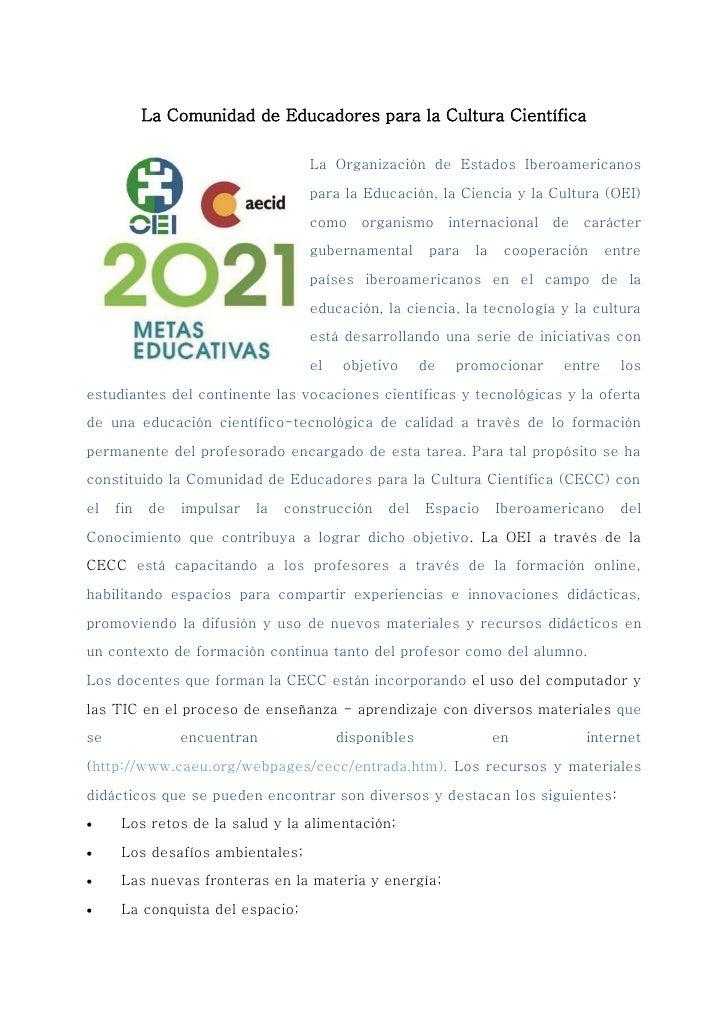 La Comunidad de Educadores para la Cultura Científica                                   La Organización de Estados Iberoam...