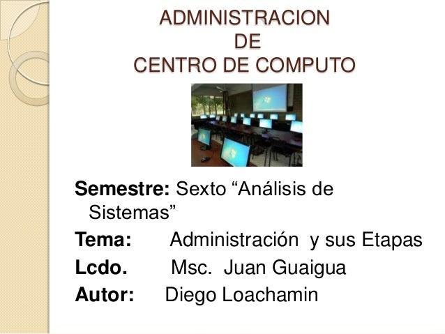 "ADMINISTRACION              DE      CENTRO DE COMPUTOSemestre: Sexto ""Análisis de Sistemas""Tema:    Administración y sus E..."