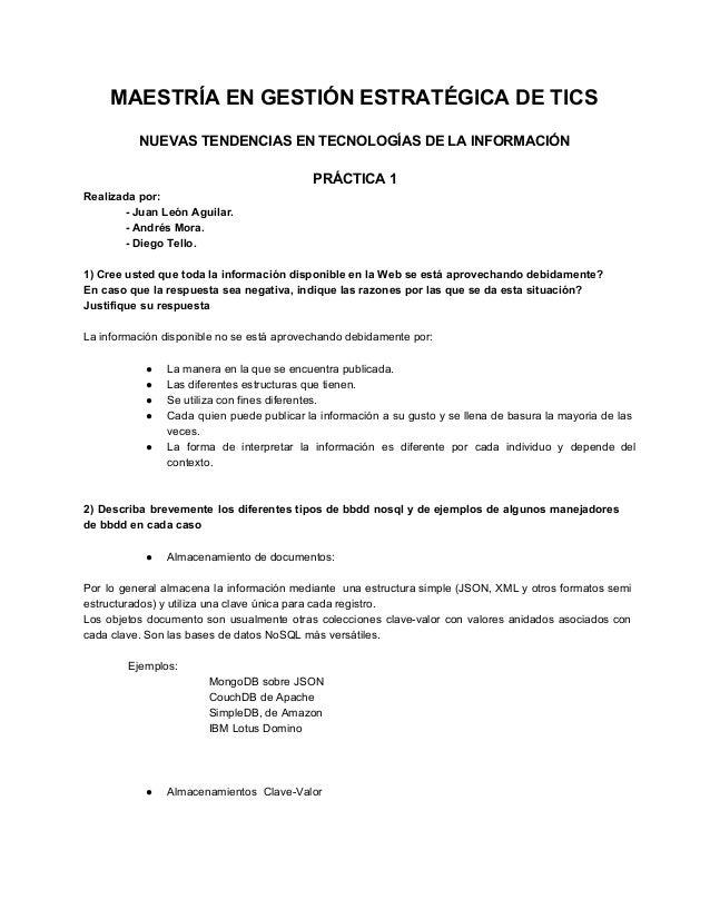 MAESTRÍAENGESTIÓNESTRATÉGICADETICS  NUEVASTENDENCIASENTECNOLOGÍASDELAINFORMACIÓN  PRÁCTICA1 Realizadapor...