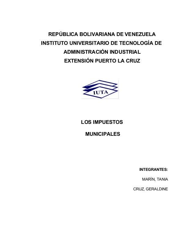 REPÚBLICA BOLIVARIANA DE VENEZUELA INSTITUTO UNIVERSITARIO DE TECNOLOGÍA DE ADMINISTRACIÓN INDUSTRIAL EXTENSIÓN PUERTO LA ...