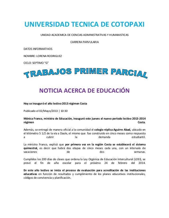 UNIVERSIDAD TECNICA DE COTOPAXI UNIDAD ACADEMICA DE CIENCIAS ADMINISTRATIVAS Y HUMANISTICAS CARRERA PARVULARIA DATOS INFOR...