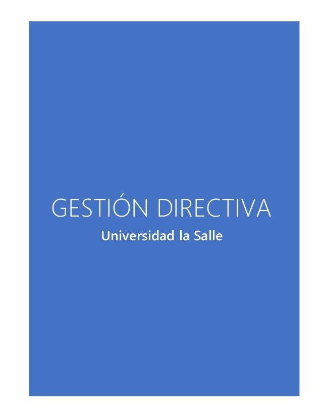 GESTIÓN DIRECTIVA Universidad la Salle