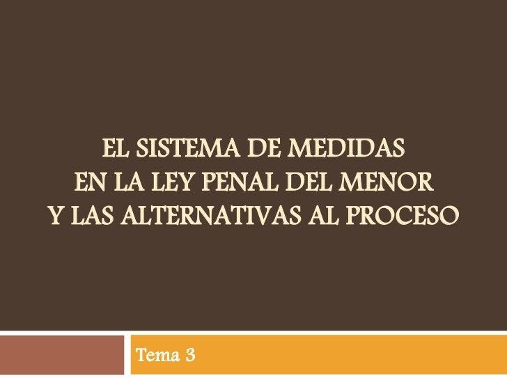 EL SISTEMA DE MEDIDAS  EN LA LEY PENAL DEL MENORY LAS ALTERNATIVAS AL PROCESO      Tema 3
