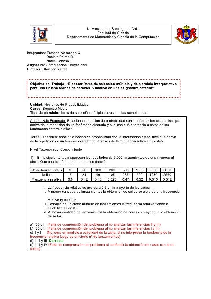 Universidad de Santiago de Chile                                          Facultad de Ciencia                         Depa...