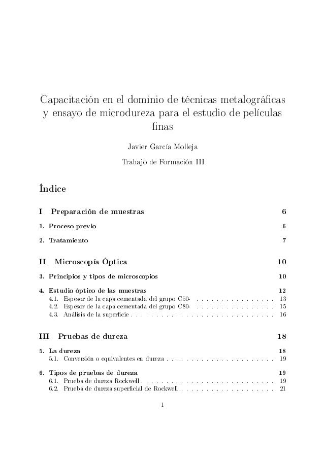 Capacitación en el dominio de técnicas metalográcasy ensayo de microdureza para el estudio de películas                   ...