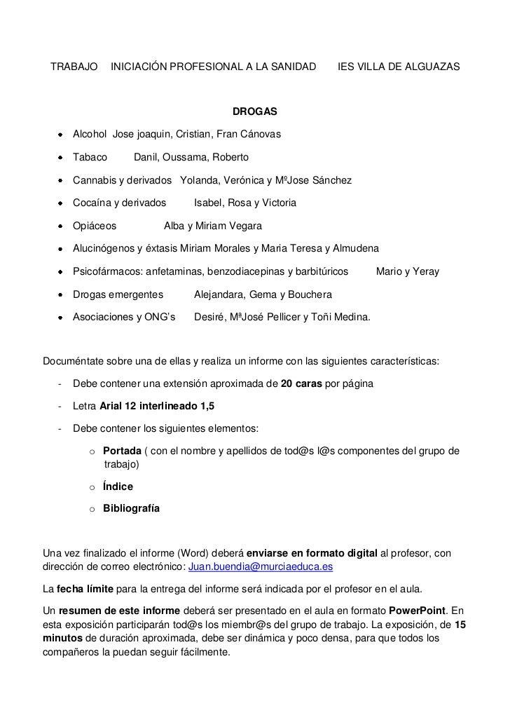 TRABAJO        INICIACIÓN PROFESIONAL A LA SANIDAD               IES VILLA DE ALGUAZAS                                    ...