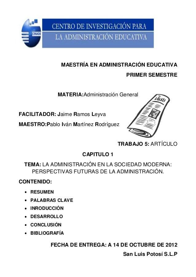 MAESTRÍA EN ADMINISTRACIÓN EDUCATIVA                                         PRIMER SEMESTRE              MATERIA:Administ...