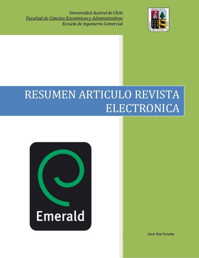 Universidad Austral de ChileFacultad de Ciencias Económicas y Administrativas                   Escuela de Ingeniería Come...