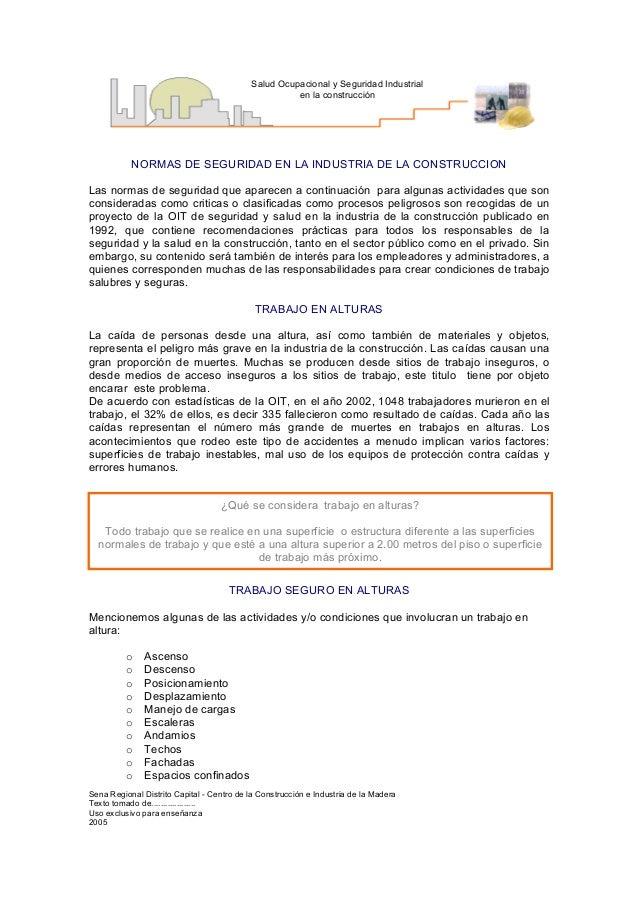 Salud Ocupacional y Seguridad Industrial                                                     en la construcción           ...
