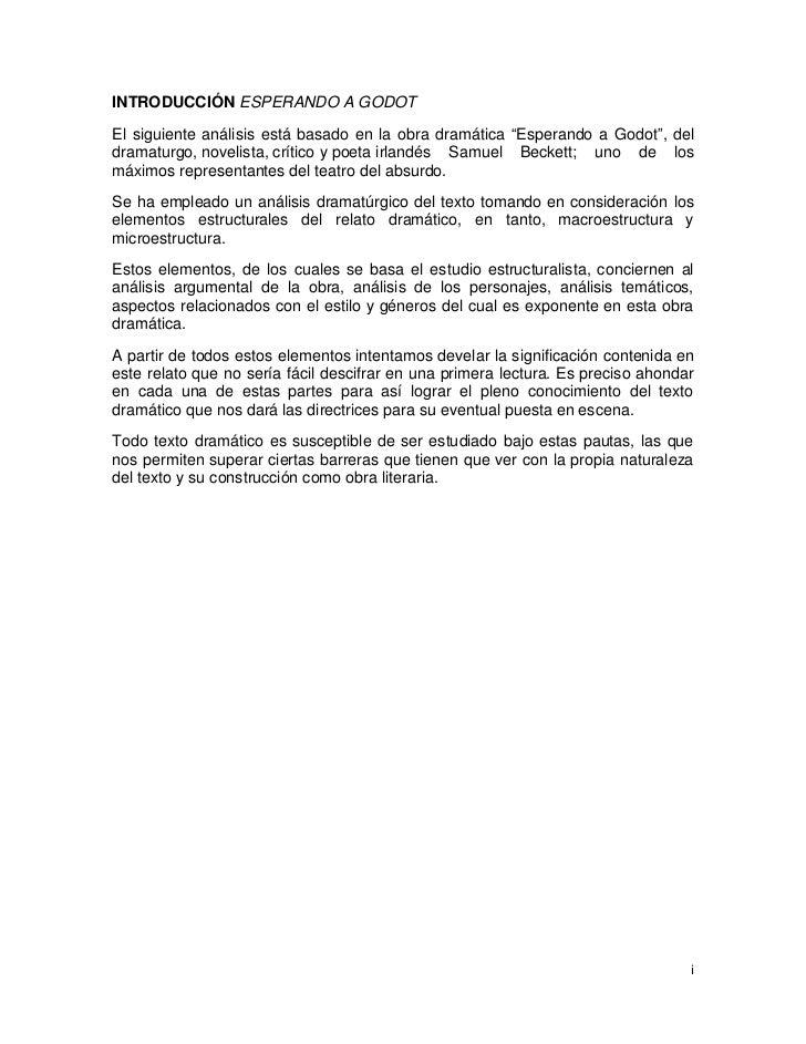 """INTRODUCCIÓN ESPERANDO A GODOTEl siguiente análisis está basado en la obra dramática """"Esperando a Godot"""", deldramaturgo, n..."""