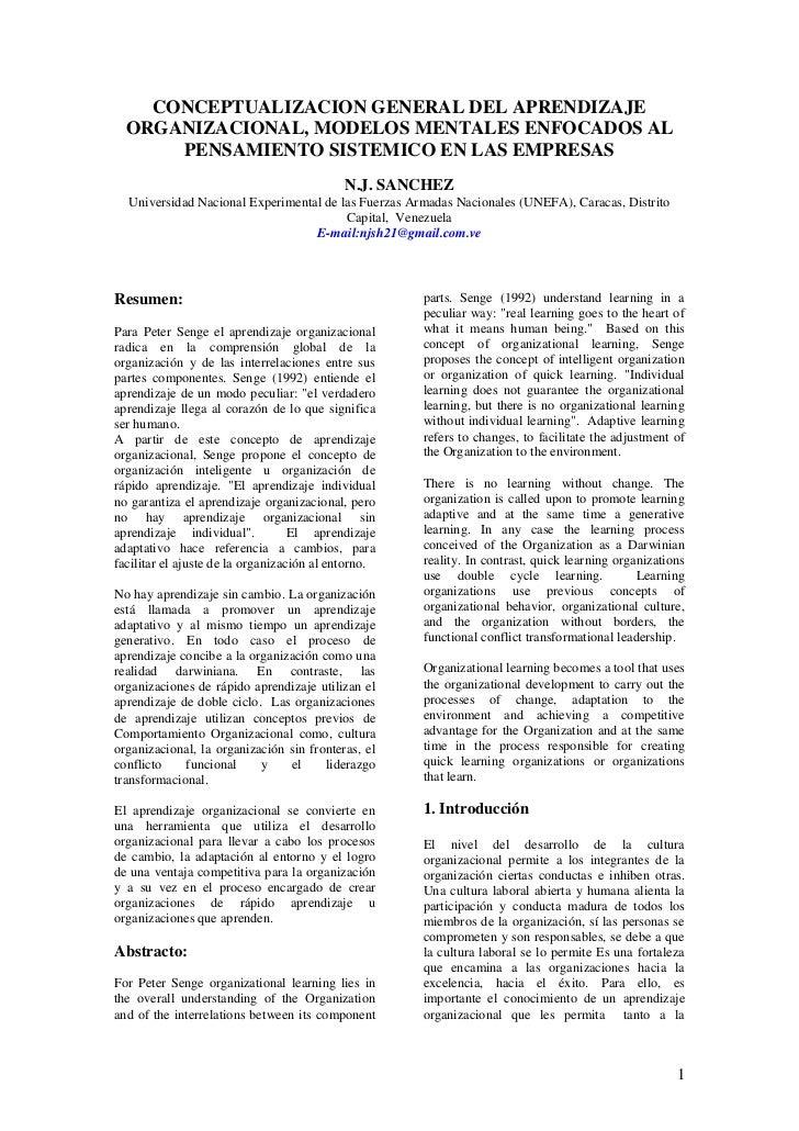 CONCEPTUALIZACION GENERAL DEL APRENDIZAJE  ORGANIZACIONAL, MODELOS MENTALES ENFOCADOS AL      PENSAMIENTO SISTEMICO EN LAS...