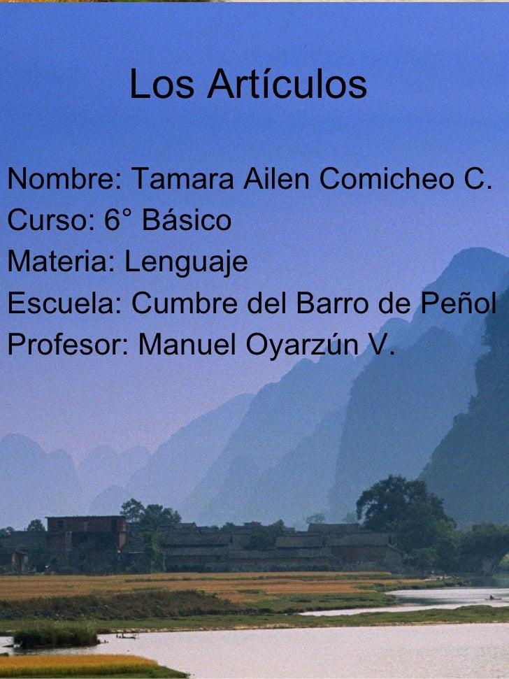Los Artículos  <ul><li>Nombre: Tamara Ailen Comicheo C. </li></ul><ul><li>Curso: 6° Básico </li></ul><ul><li>Materia: Leng...
