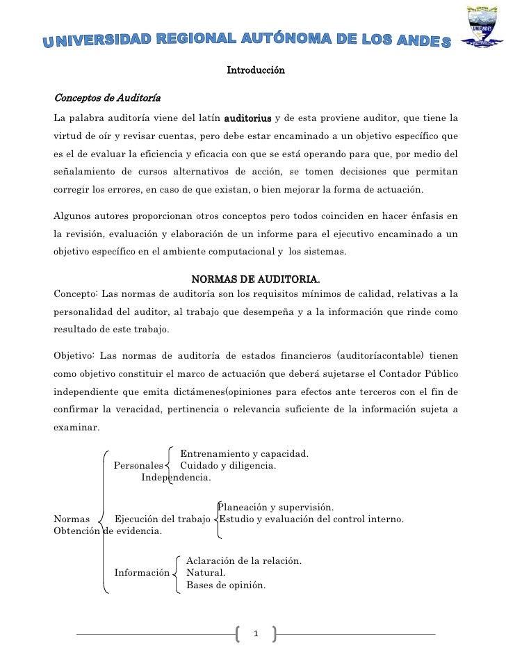 Introducción<br />Conceptos de Auditoría<br />La palabra auditoría viene del latín auditorius y de esta proviene auditor, ...