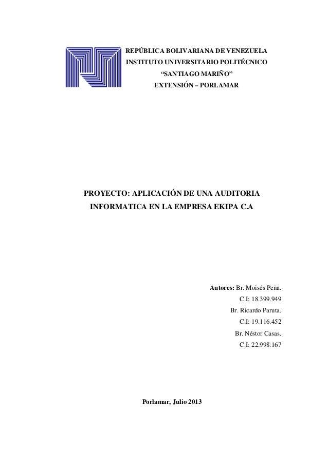 """REPÚBLICA BOLIVARIANA DE VENEZUELA INSTITUTO UNIVERSITARIO POLITÉCNICO """"SANTIAGO MARIÑO"""" EXTENSIÓN – PORLAMAR PROYECTO: AP..."""